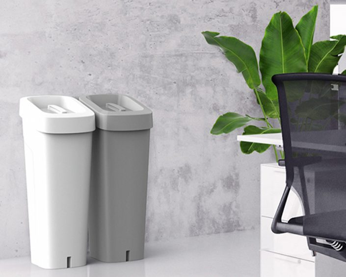 Green Warehouse Sustainable Product Recycling Bins in an office
