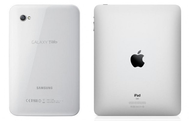 Samsung Galaxy tablet side by side with Apple iPad